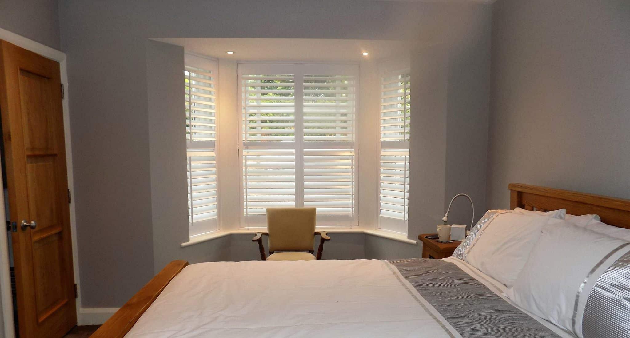 Bedroom Grey Bay Window-Shutters