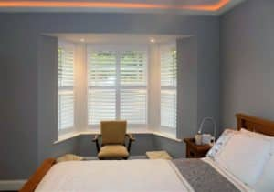 Bedroom bay window-shutters