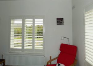 Bedroom shutters red chair