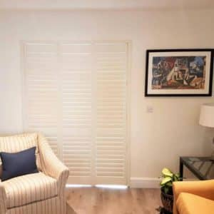 Living Room Limed White Shutters