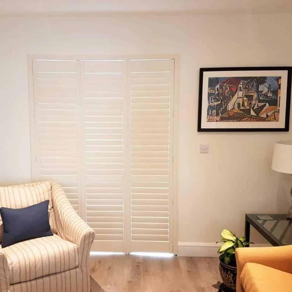 Living Room Limed White Shutters