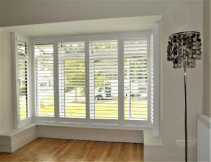 Living Room Square Bay Shutters