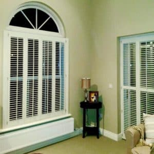 Shaped Round Shutters bedroom