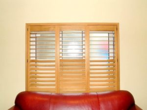 Stained shutter living room